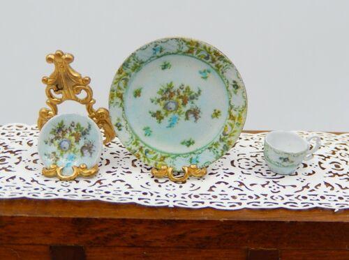 Vintage Ellen Krucker Empress Dresden Plate Cup Saucer Dollhouse Miniature 1:12