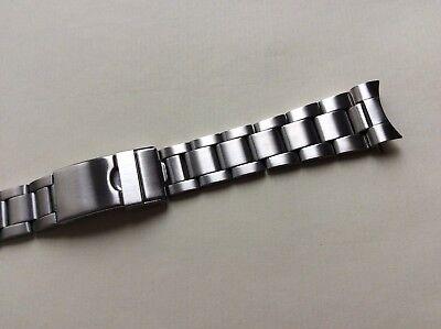 Cinturino in acciaio satinato tipo Oyster ansa curva 20mm watch band strap...