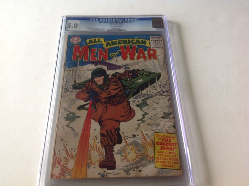ALL AMERICAN MEN OF WAR 21 CGC 5.0 OFF WHITE PAGES EASY COMPANY PROTOTYPE HEATH