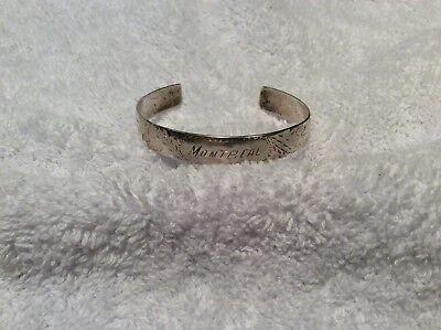Vintage Child's Sterling Silver Engraved Souvenir Bracelet Montreal