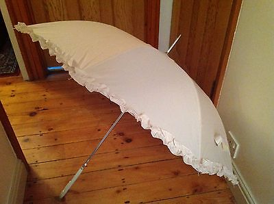 2 x Ladies Ivory Vintage Umbrellas with Frills for Bride and Wedding Party