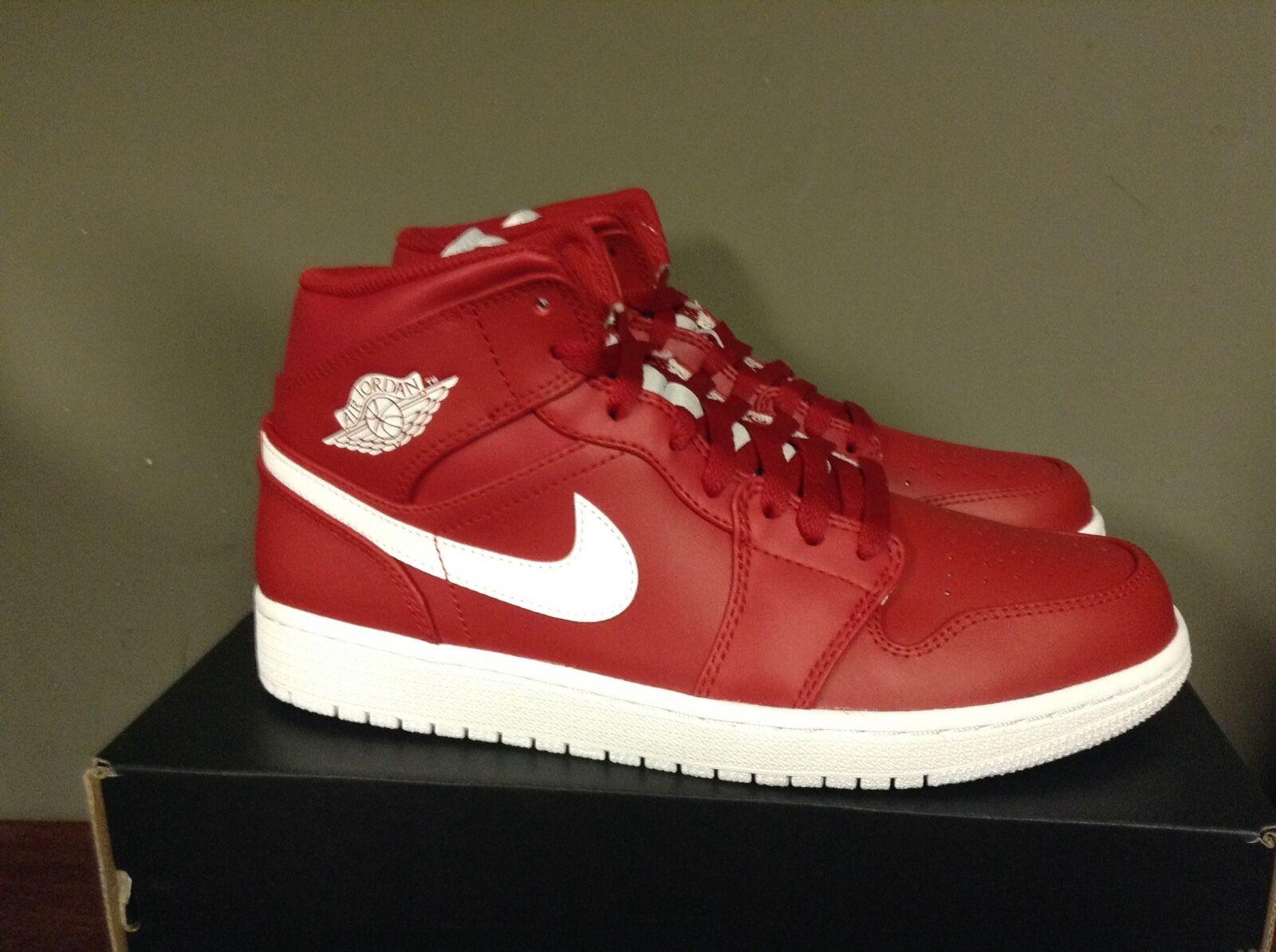 new product 0f5a8 900c7 Nike Men s Air Jordan Retro 1 Mid Lifestyle Shoe GYM RED WHITE-WHITE 554724