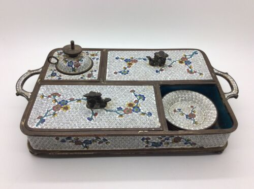 RARE Antique Chinese Cloisonné Smoking Set - Cherry Blossoms
