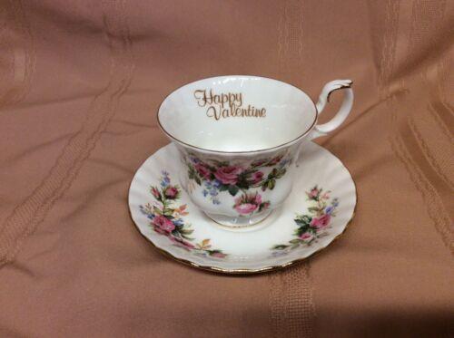 "Royal Albert China,  Moss Rose Tea Cup & Saucer ""Happy Valentine"" England"