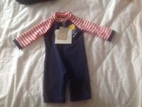 John Lewis Baby Whale Applique Striped UV SunPro Swimsuit and Hat Set Red//Multi