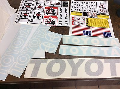 Toyota Forklift Decal Kit Detailed With Safety Decals White And Gray Combo