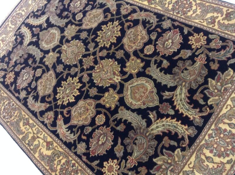 4 X 6 Black Floral Persian Oriental Area Rug Wool Hand Knotted Office/study