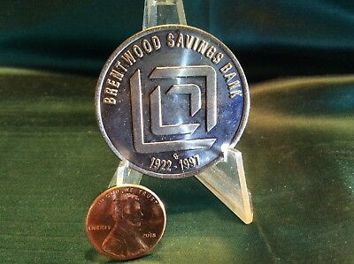 Large Token Medal Brentwood Savings Bank Pittsburgh Silver Dollar Sized Coin '97