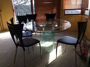 Glass dining table & chairs Hunters Hill Hunters Hill Area Preview