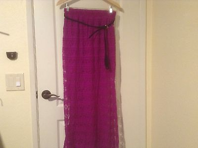 WOMENS (7-9) PURPLE LACE BELTED MAXI SKIRT LONG SHEER LACE / SHORT SKIRT NWT M