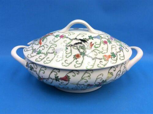 Vintage Used Porcelain White Soup Tureen Oriental Design Floral Butterflies