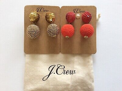 J.Crew Sequin And Bead Ball-Drop Earrings NWT With Pouch Authentic  Beads And Sequins Pouch