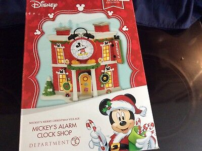 DEPT DEPARTMENT 56 DISNEY MICKEYS MERRY CHRISTMAS VILLAGE ALARM CLOCK SHOP NEW