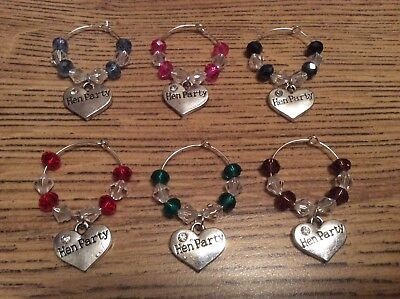 Hen Party Heart Wine Glass Charms Set of 6 Red Blue Navy Pink Green Purple