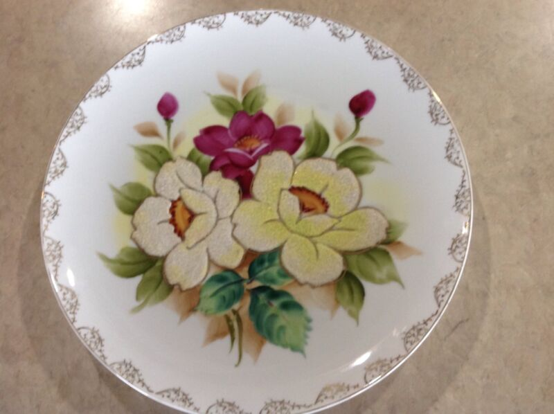 Wheelock Peoria Japan Coralene Flower plate  Original Label