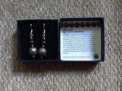NIB Beady Celtic Jewellery Garnet  Beaded Drop Earrings