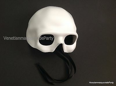 Unpainted White Blank Skeleton Masquerade Ball DIY Mask Base Costume Prom Party - Diy Skeleton Costume