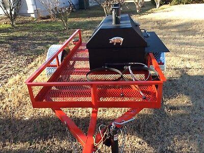 Bbq Pit Smoker W Gas Trailer Mounted Bbq Propane Burners Catering Fund Raiser