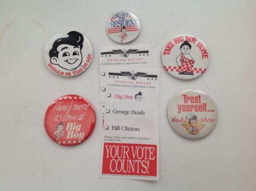 Vintage Big Boy Restaurants 5 Buttons & Big Boy for President plus souvenirs