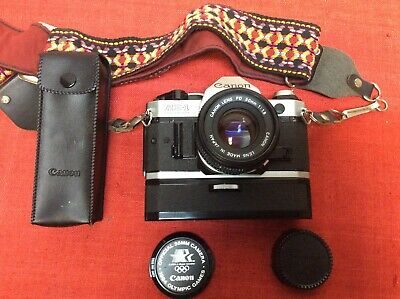 Canon AE-1 Program 35mm Film Camera w/Canon FD 50mm 1:1.8 lens & Winder Tested