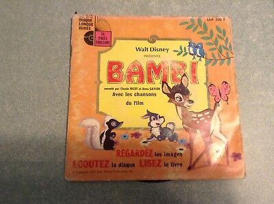 Disque vinyle 45 tours B2 /walt disney présente bambi