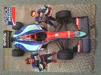 Collectable Sasol Jordan Formula 1 Poster Pamphlet Barrichello Boutsen 1993 Rare