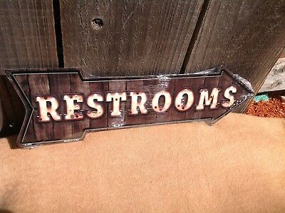 Directional Sign (Restrooms This Way To Arrow Sign Directional Novelty Metal 17