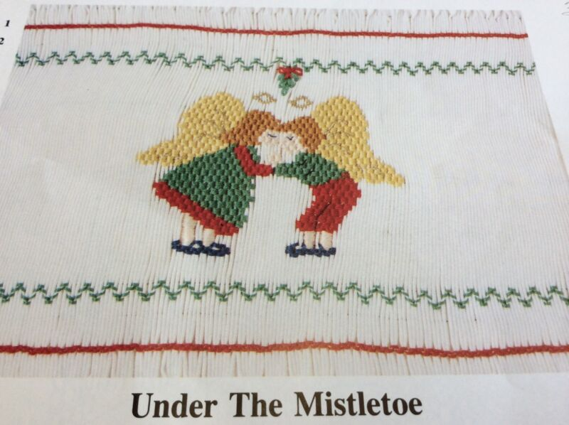 "ANGEL WEARS SMOCKING PLATE "" UNDER THE MISTLETOE"""