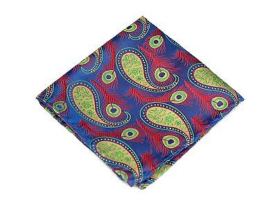 Lord R Colton Masterworks Pocket Square -  Sapphire Lime Peacock Silk - $75 New