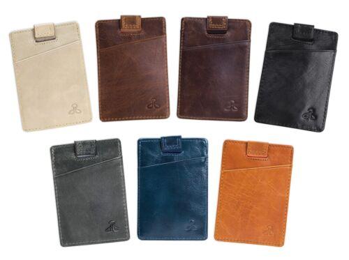Mens Leather Wallet Card holder Slim Minimalist with RFID Bl