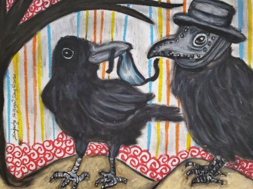 Crow in Quarantine 13x19 Art Print Artist KSams Raven Collectible Plague Doctor