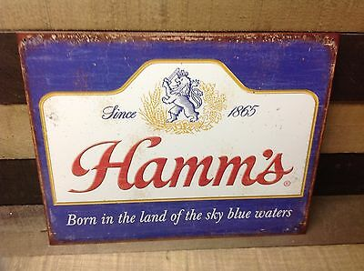 HAMMS SKY BLUE WATERS BEER Sign Tin Vintage Garage Bar Decor Old Rustic