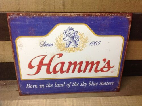 Hamms Sky Blue Waters Beer Sign Tin Vintage Garage Bar Decor Old Rustic