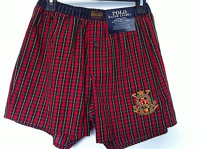 Polo Ralph Lauren Woven Boxers Small Red Plaid Body Blue Plaid Band Size S NWT