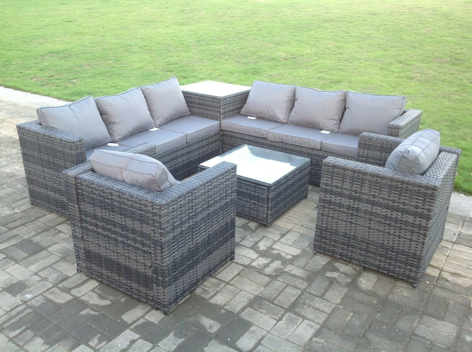 Garden Furniture - 8 seater grey rattan corner sofa chair table outdoor garden furniture patio set