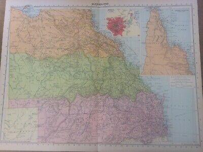 Vintage Antique 1939 Philips Map 20x15 Queensland Brisbane Australia