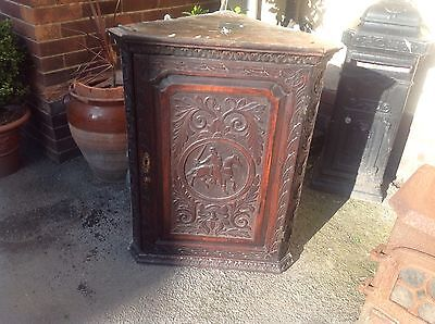 Antique Georgian Oak Carved Corner Wall Cabinet Horse Carving Restoration