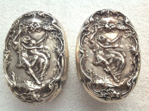 2 F & B STERLING SILVER COVERED VANITY DRESSER CONTAINER BOXES