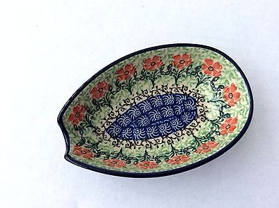 NEW C.A. Polish Pottery Spoon Rest-Red Floral