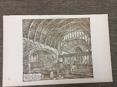 1885 original Architects print - Church of ST Mary Alfrick - Worcestershire
