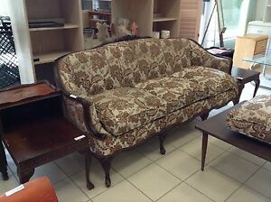 BROWN FLORAL SOFA @HFHGTA VAUGHAN