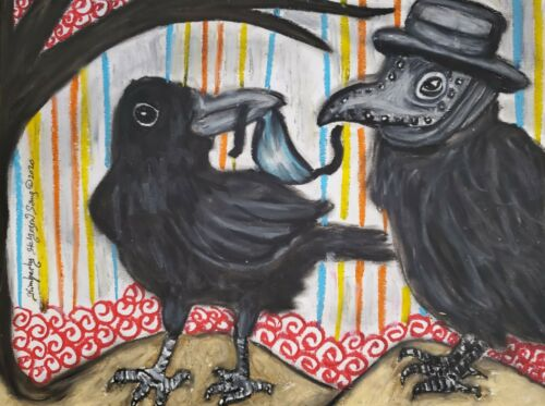 Crow in Plague Doctor Mask ACEO Art Print Signed by Artist KSams Steampunk Goth