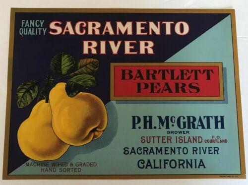 Sacramento River Pears  Brand Fruit Crate Label, original