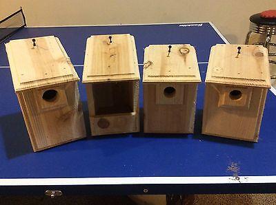 4 CEDAR Bird Houses 1 Bluebird, 1 Wren, 1 Chickadee, 1 Cardinal / Robin