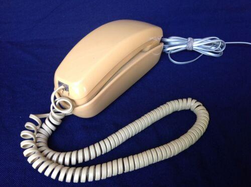 Vintage Beige Rotary Wall Phone Telephone ITT Slim Trimline - WORKS!