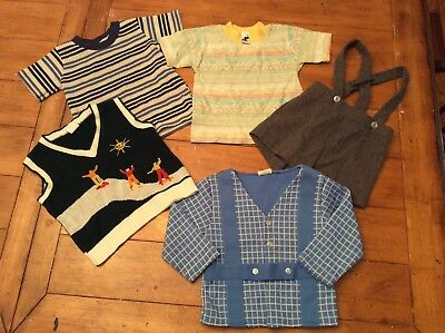 5 Piece Lot retro Vintage mid century Boy Clothes skater sweater vest tops 2 3T