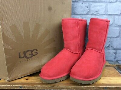 UGG AUSTRALIA LADIES UK 5.5 EU 38 CLASSIC SHORT RED BOOTS UGGS RRP £165 LG for sale  Shipping to Ireland