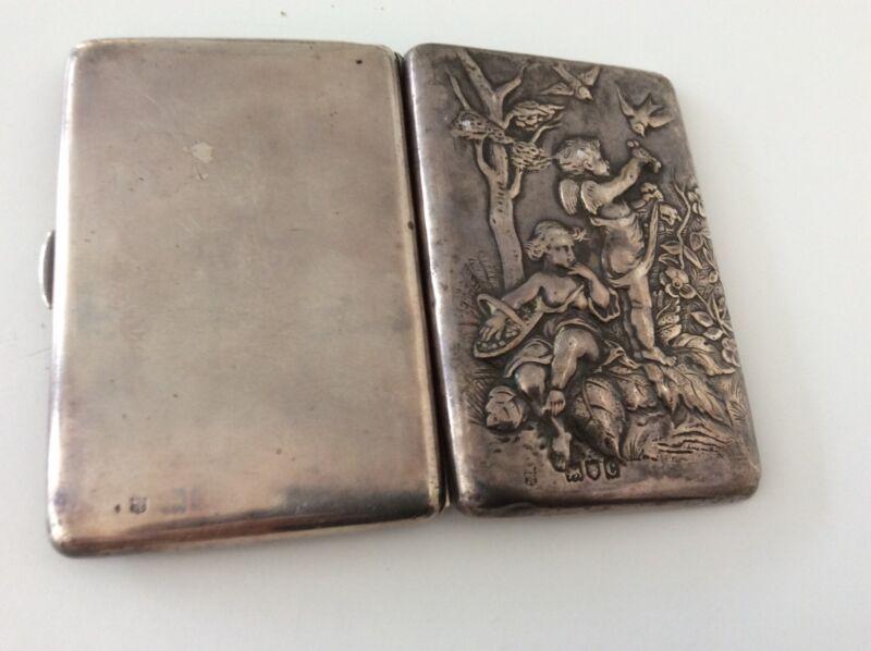 English Hallmarked Silver Case Wallet WC/JL Children Birds