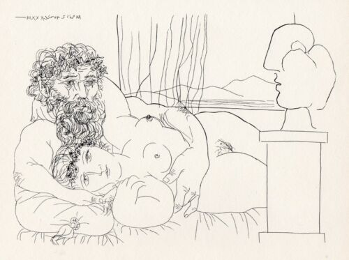 Pablo Picasso, Sculptor and His Model with the Sculpted Head of the Model, 1956