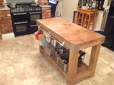 LARGE English OAK butchers block kitchen island table storage furniture vintage segunda mano  Embacar hacia Spain